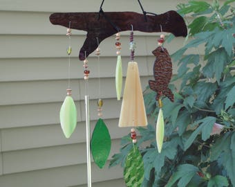 "Stained Glass Wind Chimes, Home Decor, Garden Art, Tree, Bird, Sculpture, Window Hanging, Porch Hanging, Wall Hanging, ""A Summer Breeze"""