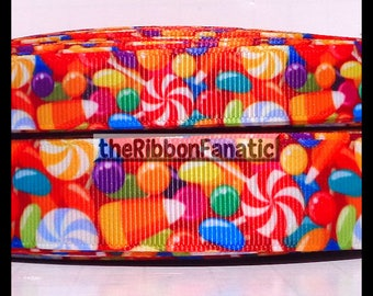 "5 yds 5/8"" and 7/8"" Sweet Shop Candy Collage Grosgrain Ribbon"