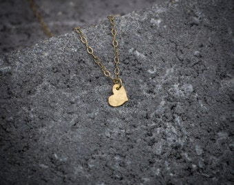 Dainty necklace, tiny necklace, heart necklace, tiny gold heart, heart pendant, love necklace, best friend necklace, lover gift.
