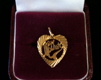 Beautiful Gold Filled Mother Heart Charm.
