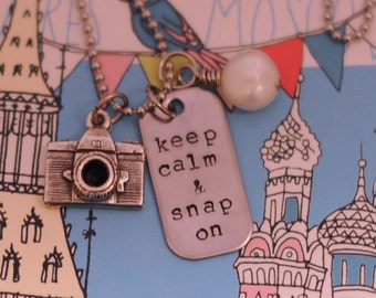 Keep Calm and Snap On Hand Stamped Stainless Steel Photographer Camera Necklace