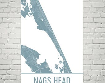 Nags Head Map, Nags Head Art, Nags Head Print, Nags Head NC Poster, Outer Banks Gifts, Map of Outer Banks, Corolla Poster, Outer Banks Art