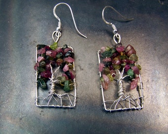 Watermelon Tourmaline earrings - tree of life earrings - solid Sterling Silver - rectangle - genuine - natural - french hook ear wires
