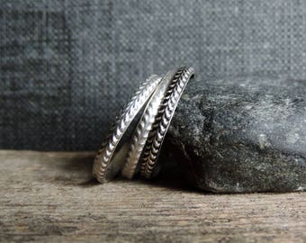 Sterling Silver Stacking Ring Band   Phat Stax - Laurel   Organic Pattern, Antiqued Oxidized Patina, Single Band, Custom // Made to Order