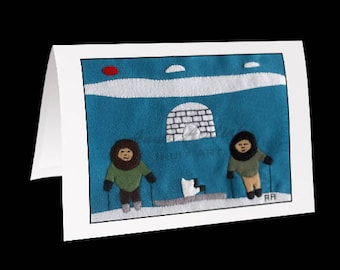 "Inuit Greeting Card #9 ""Annie with her Mom and Dad"" by Annie Aculiak"