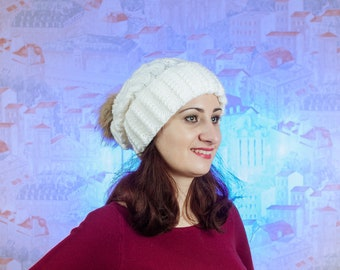 Hat with pom pom - Hand knitten hat - a cap of manual binding - winter hat - white hat - hat for women- hat with pom pom for women