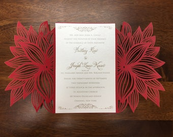 Poinsettia Christmas Laser Cut Wedding Party Invitations Wedding Die Cut Laser Cut Traditional Wedding Invitations Laser Cut