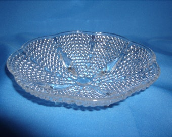 "L E SMITH One Thousand 1000 Lines Crystal Glass 7"" 4 FOOTED Bowl DISH"