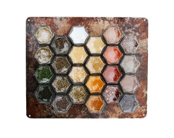 Medium One-of-a-Kind Naturally Rusted Wall Plate // Create a Rustic Wall Hanging Magnetic Spice Rack! (Jars Not Included)