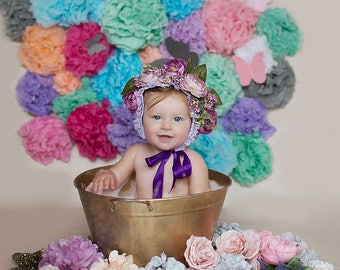 Flower bonnet photo prop sitter session age 6months to 3 years