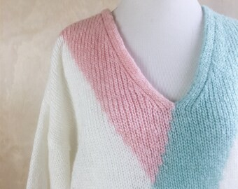 90's vintage v neck fuzzy sweater // 90's white sweater