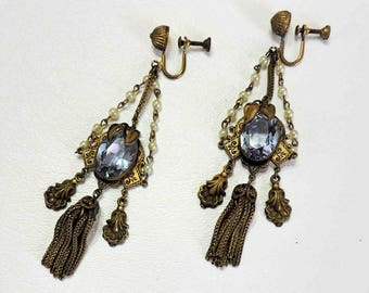 Vintage Screw Back Golden Earrings With Blue Grey Glass Centerpiece