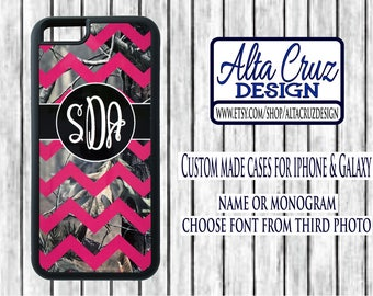Personalized Chevron Camouflage cell phone case, iPhone or Galaxy, name or monogram #123