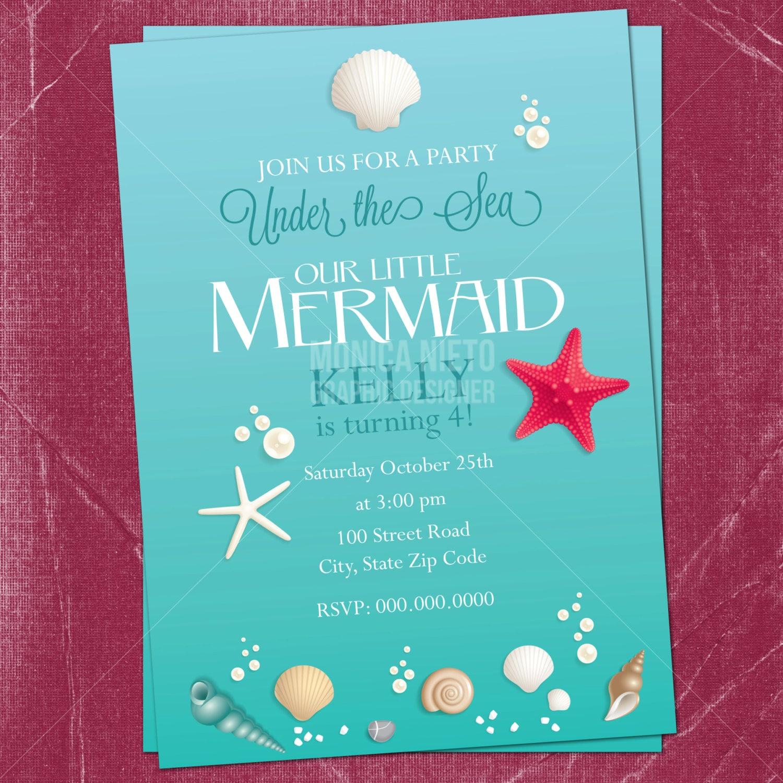 Printable Little Mermaid Birthday Invitation/ Under the Sea