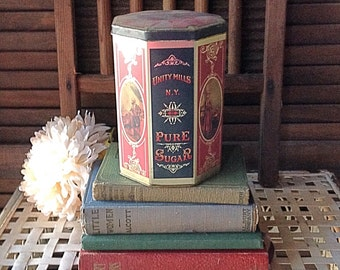 On Sale ! Vintage Tin Box Hinged Tin Box Pure Sugar Tin Made in England JR Anthorn Unity Mills NY Nostalgic Prop