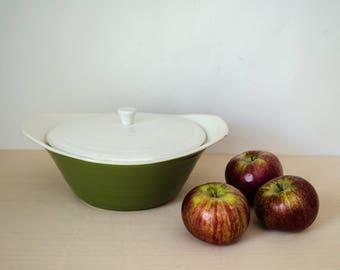 1960s mid century ceramic dish / covered casserole dish / avocado green bowl