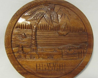 Hawaii Souvenir, Carved Wood Plaque, Philippines, 1980's