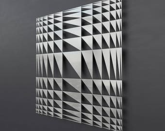 Geometric Metal Wall Sculpture, Modern Metal Wall Art,  Square Abstract Art, Geometric Metal Wall Decor, Metal Wall Panel, Large Art, Silver