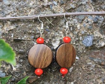 Earrings imitation wood, red orange bead