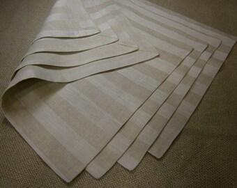Stripe Linen Placemats, Damask Placemts, StripedPlacemat, Linen Placemats (Set of 4)