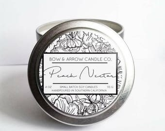 Peach Nectar Natural Soy Candle 4 oz | Eco-Friendly Candle | Soy Candle | Peach Scented Candle | Spring Candle | Gift Idea | Fruity Candle