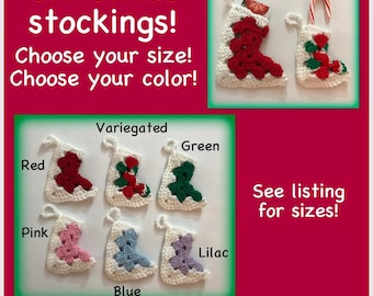 Crochet Christmas stockings, granny square  stocking stuffer, candy holder, ornament, Christmas stocking, candy cane holder, gift holder