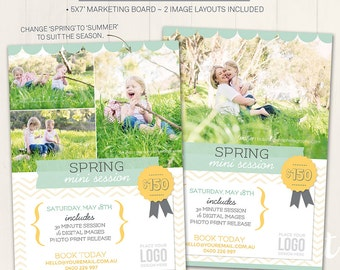 Photography Marketing Board / Spring Mini Session - Photoshop Template for photographers (DM2) - INSTANT DOWNLOAD
