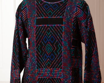 Awesome Men's 80s 90s Sweater - McGregor - black colorful - Large