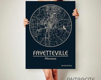 FAYETTEVILLE Arkansas CANVAS Map Fayetteville Arkansas Poster City Map Fayetteville Arkansas Art Print Fayetteville Arkansas