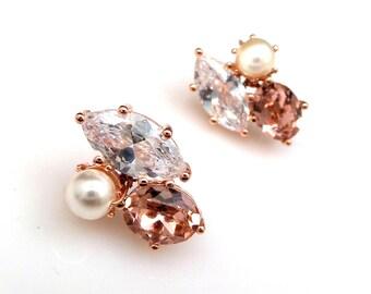 bridal wedding jewelry bridesmaid gift prom swarovski white cream pearl vintage rose crystal rhinestone marquise cz stud rose gold earrings