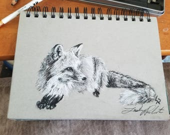 Original Charcoal Fox Drawing 5.5x8.5/nature picture