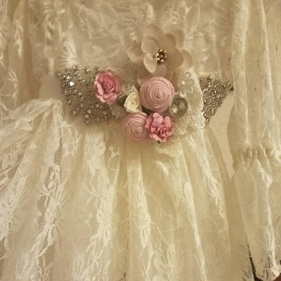 Rustic Toddler, Rustic Toddler Dress, Rustic Dress, Rustic Lace Dress, Rustic Tea Length, Rustic Flower Girl, Rustic Girl  Dress, Ivory Set