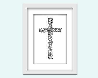 Zentangle Print - Kreuz mit Rosen / Digitaler download / druckbar / 13 x 18 cm und 20 x 25 cm groß / PDF und JPG