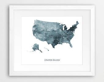 United States Map Print, USA Map Decor, United States Wall Art, USA Watercolor Grey Blue Indigo, Home Decor, Travel Poster Printable Art