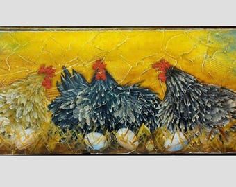 """11"""" X 36""""  #501 Chickens Hens Art Painting on Rustic Wood"""