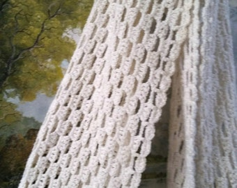 Hand knitted wrap, cream colored scarf, Cream wrap, crochet wrap, crochet scarf, long scarf, handmade wrap, handmade scarf, gifts for her