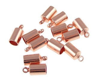 144 - 4mm Copper Kumihimo Cord End Copper Plated Cord End Caps - Kumihimo Supplies (KH27)