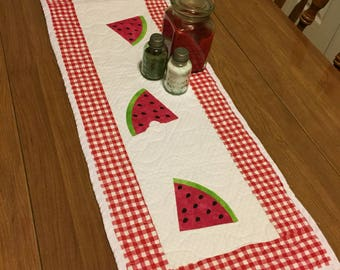 Homemade Machine Quilted Watermelon Table Runner