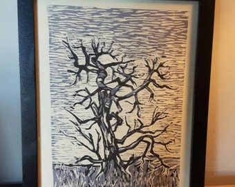 Prairie Tree linocut reduction print