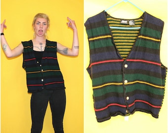 Vintage Knitted Button Up Sweater Vest. Striped 90s Vest. 90s Vintage Knitted Horizontal Striped Button Up Sweater. Colorful Sweater Vest.
