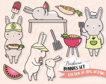 Barbecue Bunnies Clipart Set, Vector Clip Art, BBQ Party Invitations, Vegetarian, Kawaii, Cute Bunny Commercial Use Planner Sticker Graphics