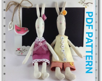Rabbit doll Pattern - Sewing doll Pattern -PDF pattern - Instant download pattern-Zakka doll