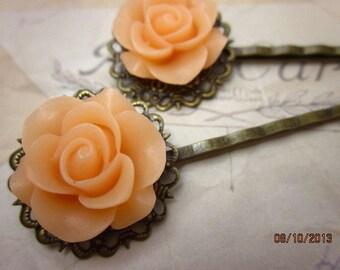 Peach rose antique bronze bobby pins set of two