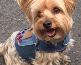 Denim Dog Harness Vest Ladybugs Teacup Dog Small Dog