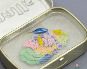 Altoids Smalls Miniature Coral Reef Ocean Pond with Yellow Tangs and Regal Tangs, Altoids Pond, Miniature Fish, Resin Pond, Desk Accessory