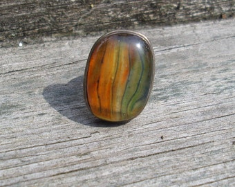 Glass Cabochon Ring Yellow, Green and Orange