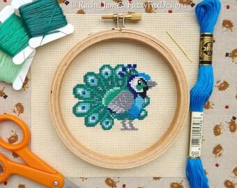 Proud Little Peacock Cross Stitch Pattern PDF | Cute Little Bird | Easy | Modern | Beginners Counted Cross Stitch | Instant Download