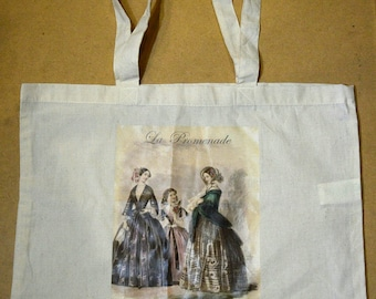 Maxi Tote Bag Cotton natural color exclusive design La Promenade