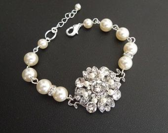 Bridal Bracelet Wedding Pearl Bracelet Ivory swarovski Pearls bridal cuff Pearl Bridal Bracelet Pearl Rhinestone Bracelet COLLEEN