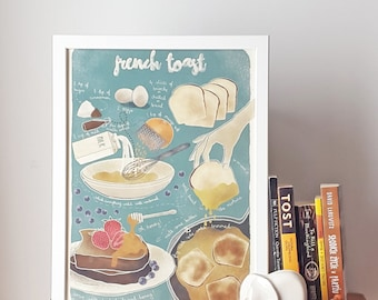 Illustrated recipe art print | French toast | Illustrated food | Kitchen art